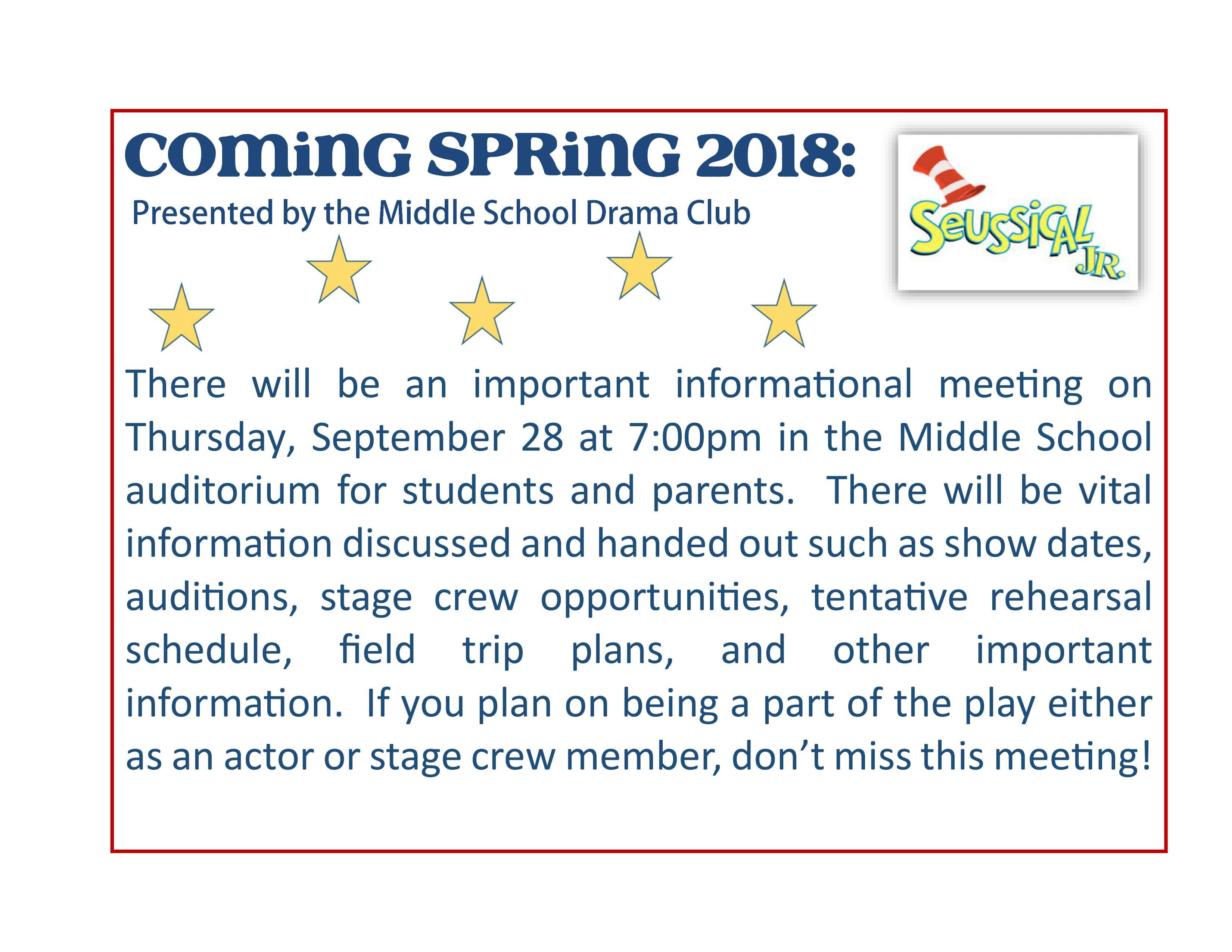 Drama Club/Musical Parent/Student Meeting